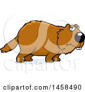 Clipart Of A Sad Or Depressed Woodchuck Groundhog Whistlepig Royalty Free Vector Illustration