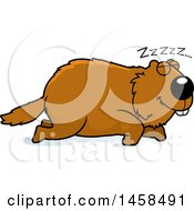 Clipart Of A Sleeping Woodchuck Groundhog Whistlepig Royalty Free Vector Illustration by Cory Thoman