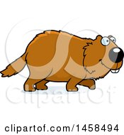 Clipart Of A Happy Woodchuck Groundhog Whistlepig Walking Royalty Free Vector Illustration