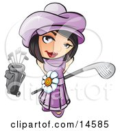 Sweet And Cute Short Haired Brunette Girl In A Purple Hat And Dress With A White Daisy Belt Looking Up And Holding A Golf Club Clipart Illustration