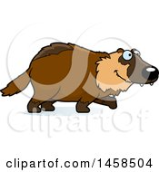 Clipart Of A Happy Wolverine Walking Royalty Free Vector Illustration by Cory Thoman
