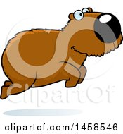 Clipart Of A Happy Capybara Jumping Royalty Free Vector Illustration