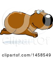 Clipart Of A Happy Capybara Running Royalty Free Vector Illustration by Cory Thoman