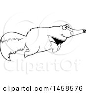 Clipart Of A Black And White Happy Anteater Jumping Royalty Free Vector Illustration