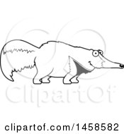 Clipart Of A Black And White Happy Anteater Smiling Royalty Free Vector Illustration