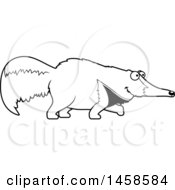Clipart Of A Black And White Happy Anteater Walking Royalty Free Vector Illustration