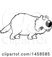 Clipart Of A Black And White Howling Woodchuck Groundhog Whistlepig Royalty Free Vector Illustration
