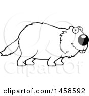 Clipart Of A Black And White Happy Woodchuck Groundhog Whistlepig Royalty Free Vector Illustration by Cory Thoman