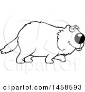 Clipart Of A Black And White Stalking Woodchuck Groundhog Whistlepig Royalty Free Vector Illustration