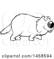 Clipart Of A Black And White Happy Woodchuck Groundhog Whistlepig Walking Royalty Free Vector Illustration