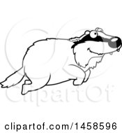 Clipart Of A Black And White Happy Badger Jumping Royalty Free Vector Illustration