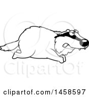 Clipart Of A Black And White Mad Badger Running Royalty Free Vector Illustration