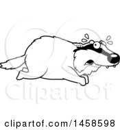 Clipart Of A Black And White Scared Badger Running Royalty Free Vector Illustration