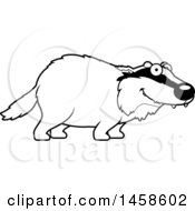 Clipart Of A Black And White Happy Badger Smiling Royalty Free Vector Illustration by Cory Thoman