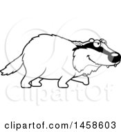 Clipart Of A Black And White Stalking Badger Royalty Free Vector Illustration by Cory Thoman