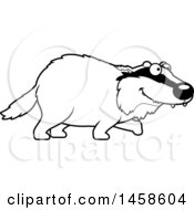 Clipart Of A Black And White Happy Badger Walking Royalty Free Vector Illustration by Cory Thoman