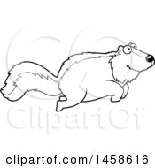 Clipart Of A Black And White Happy Skunk Jumping Royalty Free Vector Illustration