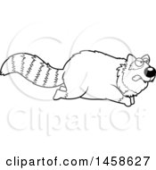 Clipart Of A Black And White Mad Red Panda Running Royalty Free Vector Illustration