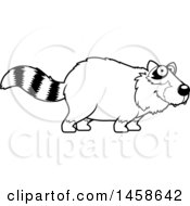 Clipart Of A Black And White Happy Raccoon Royalty Free Vector Illustration