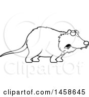 Clipart Of A Lineart Howling Possum Royalty Free Vector Illustration