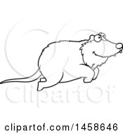 Clipart Of A Lineart Happy Possum Jumping Royalty Free Vector Illustration