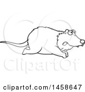 Clipart Of A Lineart Mad Possum Running Royalty Free Vector Illustration