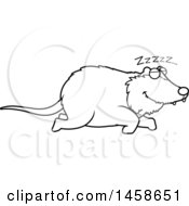 Clipart Of A Lineart Sleeping Possum Royalty Free Vector Illustration
