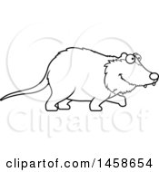Clipart Of A Lineart Happy Possum Walking Royalty Free Vector Illustration