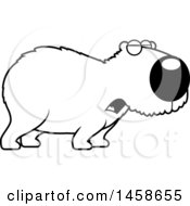 Clipart Of A Lineart Howling Capybara Royalty Free Vector Illustration