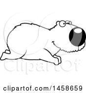 Clipart Of A Lineart Happy Capybara Running Royalty Free Vector Illustration by Cory Thoman