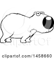 Clipart Of A Lineart Sad Or Depressed Capybara Royalty Free Vector Illustration