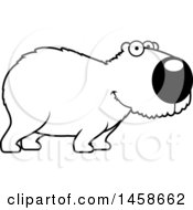 Clipart Of A Lineart Happy Capybara Royalty Free Vector Illustration by Cory Thoman