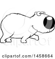 Clipart Of A Lineart Happy Capybara Walking Royalty Free Vector Illustration