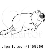 Clipart Of A Lineart Happy Beaver Jumping Royalty Free Vector Illustration