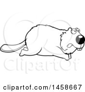 Clipart Of A Lineart Mad Beaver Running Royalty Free Vector Illustration