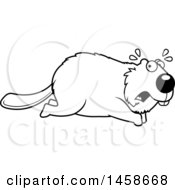 Outlined Scared Beaver Running