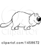 Clipart Of A Lineart Happy Beaver Smiling Royalty Free Vector Illustration