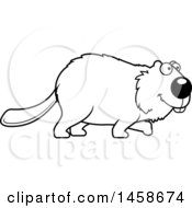 Clipart Of A Lineart Happy Beaver Walking Royalty Free Vector Illustration