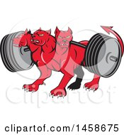 Cartoon Red Three Headed Cerberus Devil Dog Hellhound Monster With A Heavy Barbell