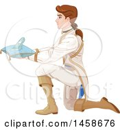 Kneeling Prince Holding Cinderellas Glass Slipper On A Pillow