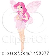 Clipart Of A Pretty Pink Fairy Gesturing A Heart With Her Hands Royalty Free Vector Illustration