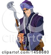 Clipart Of A Cruel Villian Arabian Man With A Snake Staff Royalty Free Vector Illustration by Pushkin