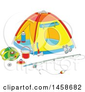 Clipart Of A Cartoon Tent With Camp And Fishing Gear Royalty Free Vector Illustration
