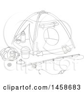 Clipart Of A Black And White Tent With Camp And Fishing Gear Royalty Free Vector Illustration