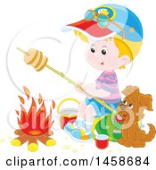Clipart Of A Happy Blond Caucasian Boy And Puppy Roasting Bread By A Camp Fire Royalty Free Vector Illustration by Alex Bannykh