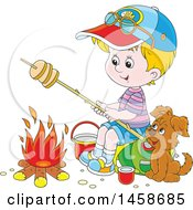 Cartoon Happy Blond White Boy And Puppy Roasting Bread By A Camp Fire