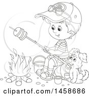 Clipart Of A Black And White Boy And Puppy Roasting Bread By A Camp Fire Royalty Free Vector Illustration by Alex Bannykh