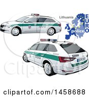 Clipart Of A Lithuanian Police Car With A Map And Euro Police Text Royalty Free Vector Illustration