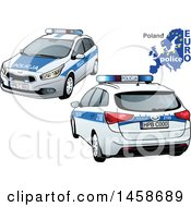 Poster, Art Print Of Polish Police Car With A Map And Euro Police Text