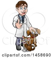 Clipart Of A Cartoon Happy May Veterinarian Giving A Thumb Up And Standing With A Dog And Cat Royalty Free Vector Illustration by AtStockIllustration